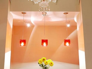 Apart Hotel Buenos Aires Woden Bar Chairs Chandelier Red Lamps Room