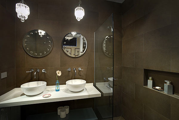 Luxury Rental Apartments Buenos Aires Bathroom Mirrors Sink Brown Porcelain Amenities