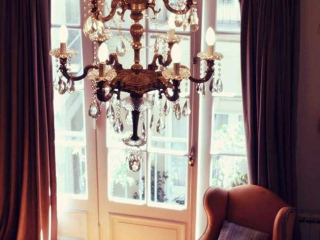 Luxury Rental Apartments Buenos Aires Chandelier Sofa Orange Antique Window Curtains
