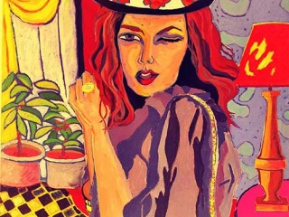 Painting Pilar Lucero Woman Closing One Eye Wearing Hat