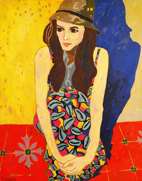 Painting Pilar Lucero Woman Sitting With Hat