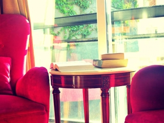 Pink Chair Book On Side Table Sunlight